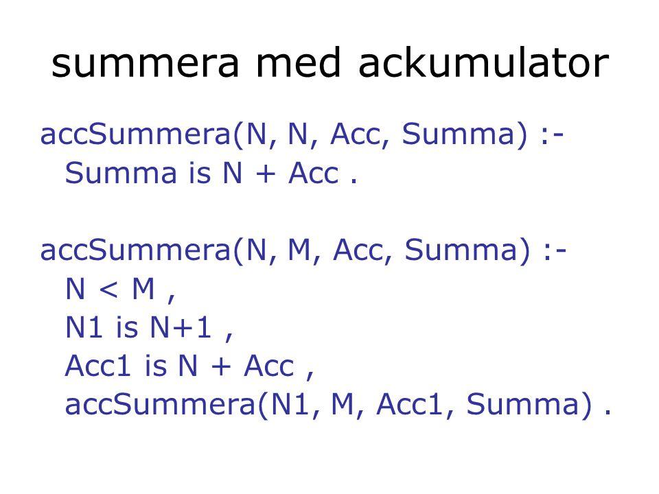 jämförelse naiveRev (3 element):20 instruktioner accRev (3 element): 8 instruktioner naiveRev (8 element):90 instruktioner accRev (8 element):18 instruktioner och som sagt: minnesutrymmet växer linjärt i naiveRev, men är konstant i accRev