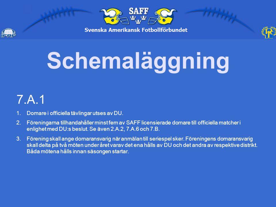 Schemaläggning 7.A.1 1.Domare i officiella tävlingar utses av DU.
