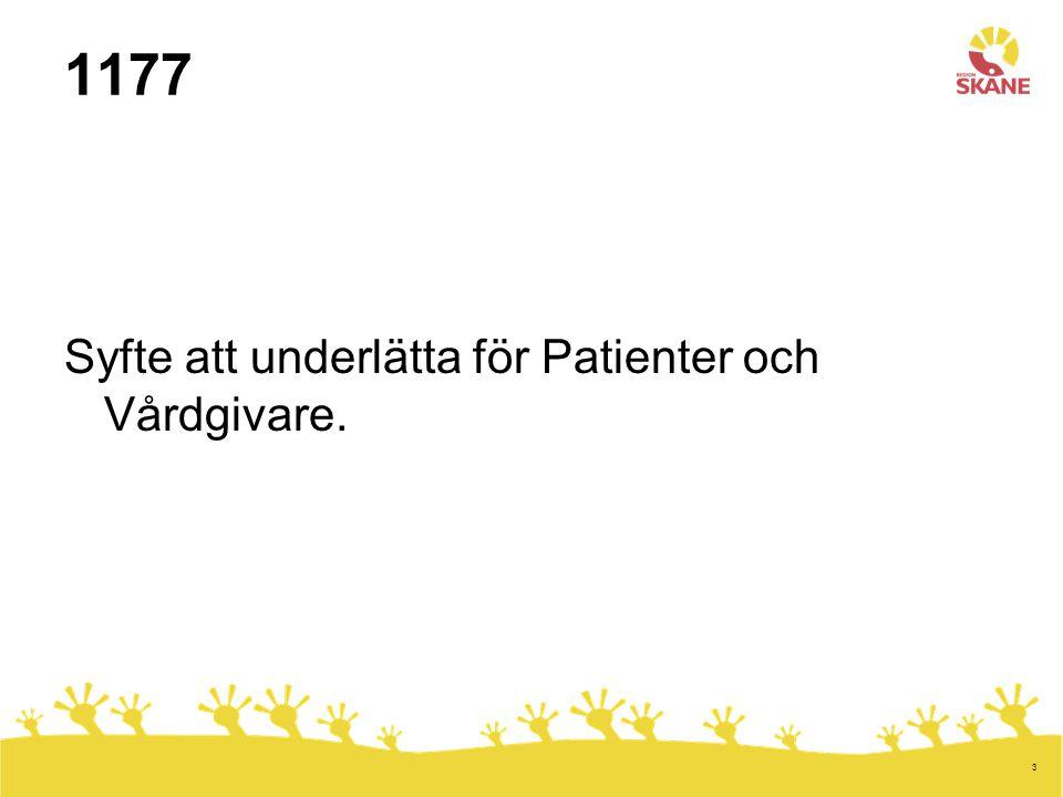 3 1177 Syfte att underlätta för Patienter och Vårdgivare.