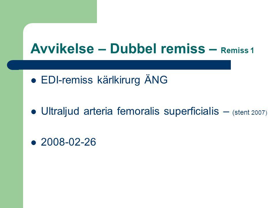 Avvikelse – Dubbel remiss – Remiss 1 EDI-remiss kärlkirurg ÄNG Ultraljud arteria femoralis superficialis – (stent 2007) 2008-02-26
