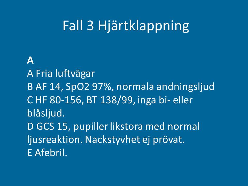 Fall 3 Hjärtklappning A A Fria luftvägar B AF 14, SpO2 97%, normala andningsljud C HF 80-156, BT 138/99, inga bi- eller blåsljud. D GCS 15, pupiller l