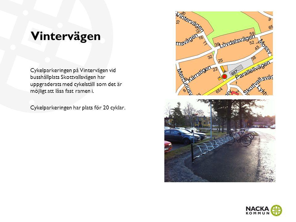 Vintervägen Cykelparkeringen på Vintervägen vid busshållplats Skottvallsvägen har uppgraderats med cykelställ som det är möjligt att låsa fast ramen i.