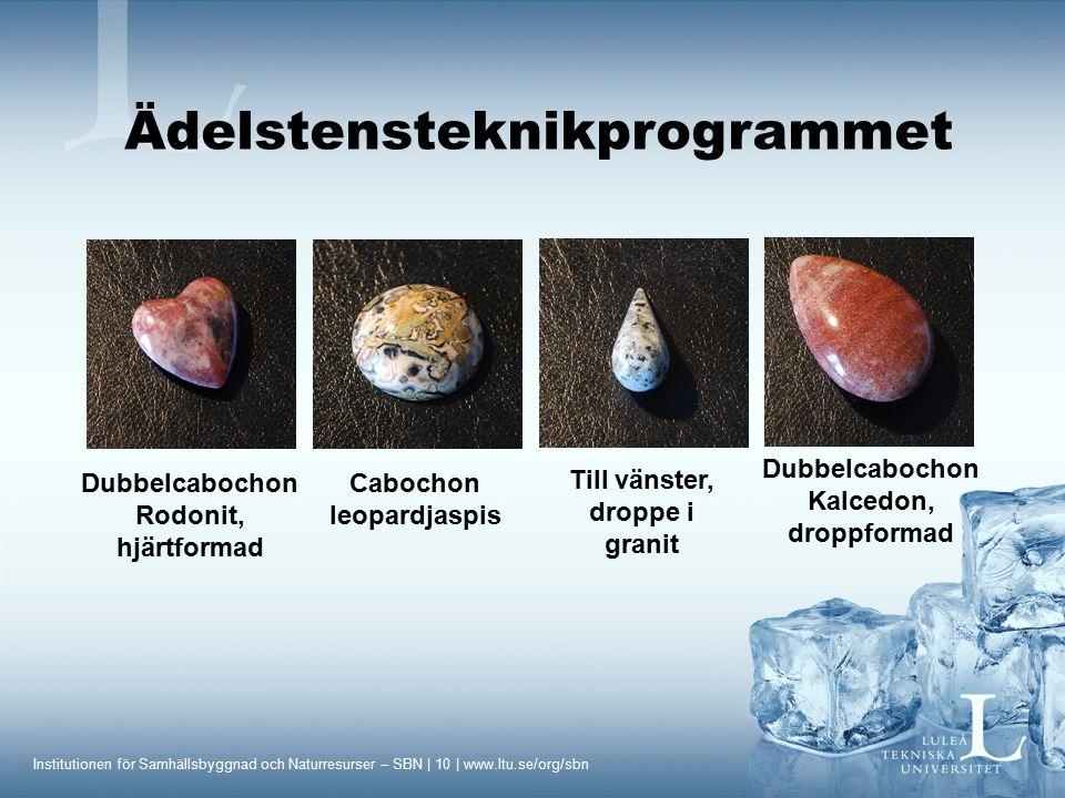Institutionen för Samhällsbyggnad och Naturresurser – SBN | 10 | www.ltu.se/org/sbn Till vänster, droppe i granit Dubbelcabochon Rodonit, hjärtformad