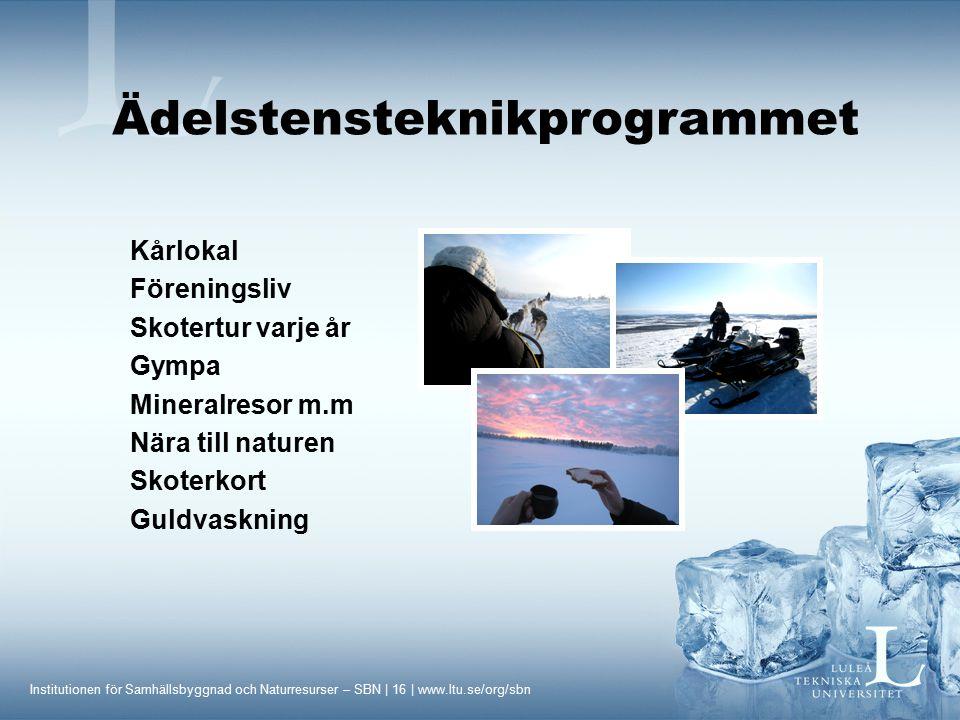 Institutionen för Samhällsbyggnad och Naturresurser – SBN | 16 | www.ltu.se/org/sbn Kårlokal Föreningsliv Skotertur varje år Gympa Mineralresor m.m Nä