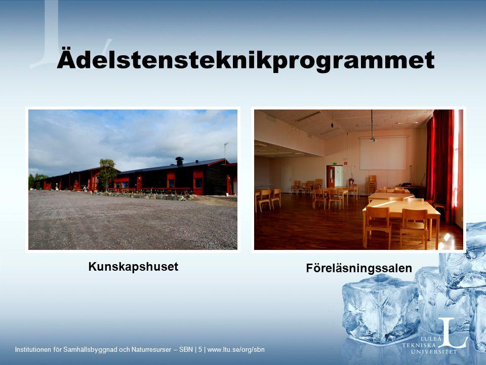 Institutionen för Samhällsbyggnad och Naturresurser – SBN | 5 | www.ltu.se/org/sbn Kunskapshuset Föreläsningssalen Ädelstensteknikprogrammet