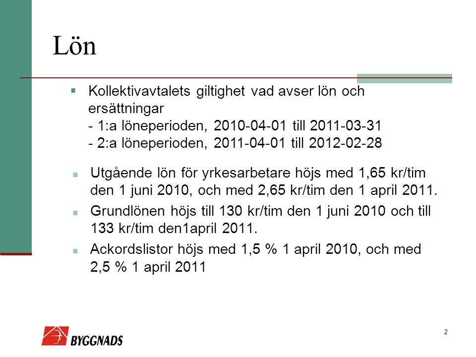 2 Lön Utgående lön för yrkesarbetare höjs med 1,65 kr/tim den 1 juni 2010, och med 2,65 kr/tim den 1 april 2011. Grundlönen höjs till 130 kr/tim den 1