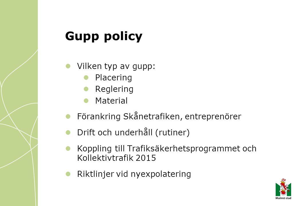 Gupp policy Vilken typ av gupp: Placering Reglering Material Förankring Skånetrafiken, entreprenörer Drift och underhåll (rutiner) Koppling till Trafiksäkerhetsprogrammet och Kollektivtrafik 2015 Riktlinjer vid nyexpolatering