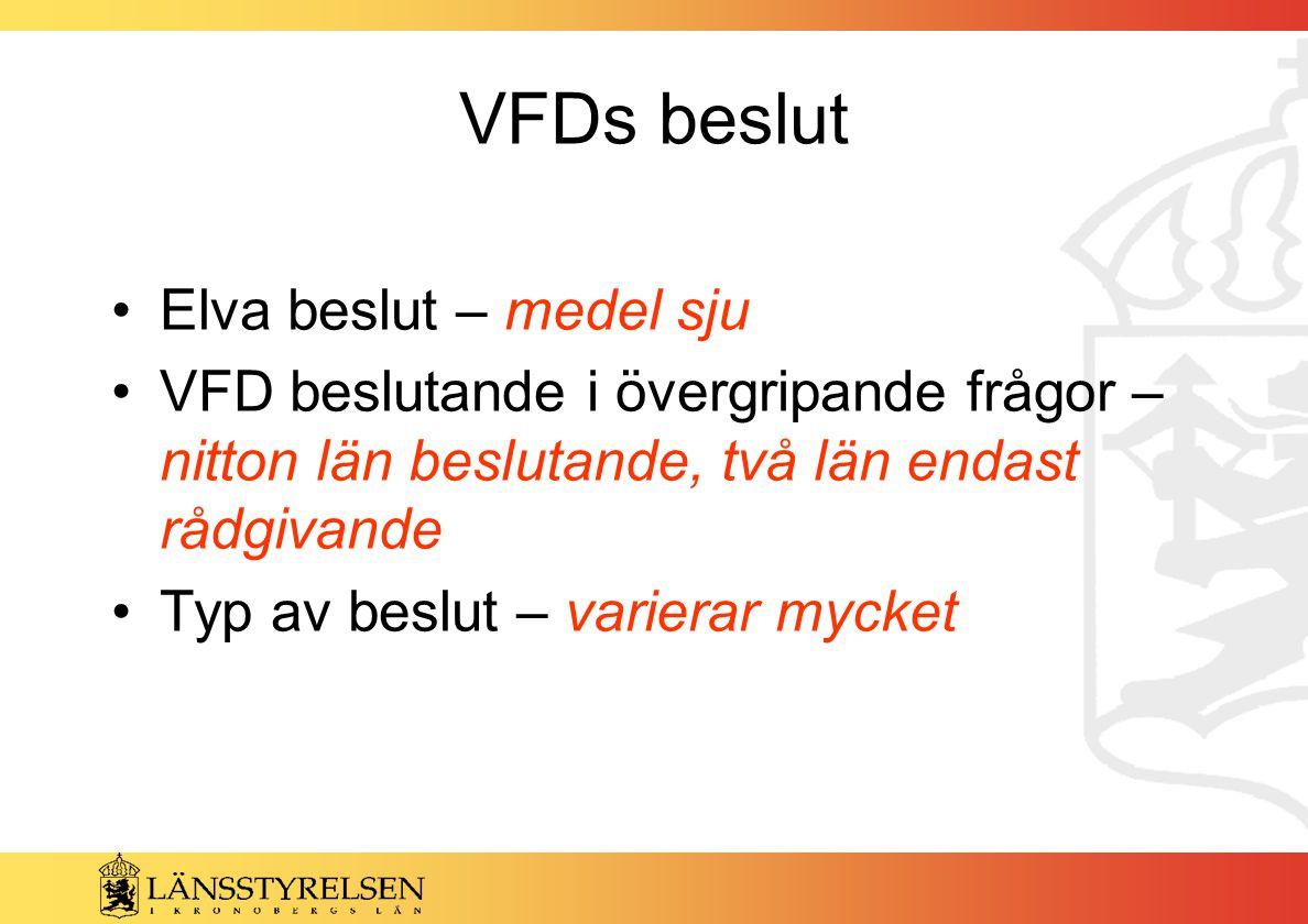 VFDs beslut Elva beslut – medel sju VFD beslutande i övergripande frågor – nitton län beslutande, två län endast rådgivande Typ av beslut – varierar mycket
