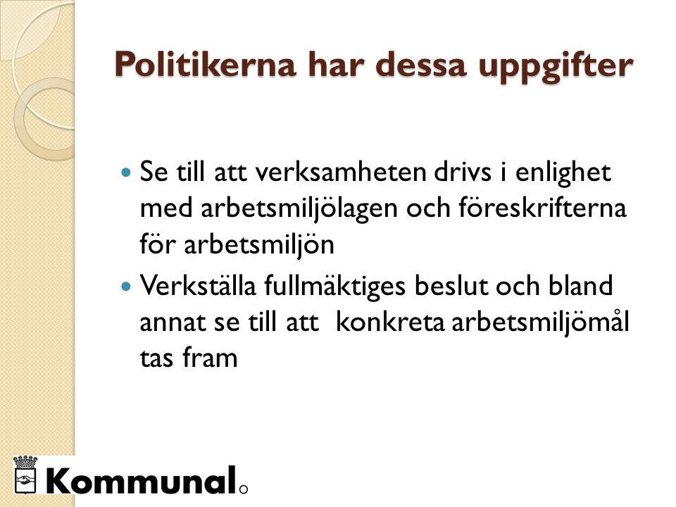 Politikerna har dessa uppgifter Se till att verksamheten drivs i enlighet med arbetsmiljölagen och föreskrifterna för arbetsmiljön Verkställa fullmäktiges beslut och bland annat se till att konkreta arbetsmiljömål tas fram