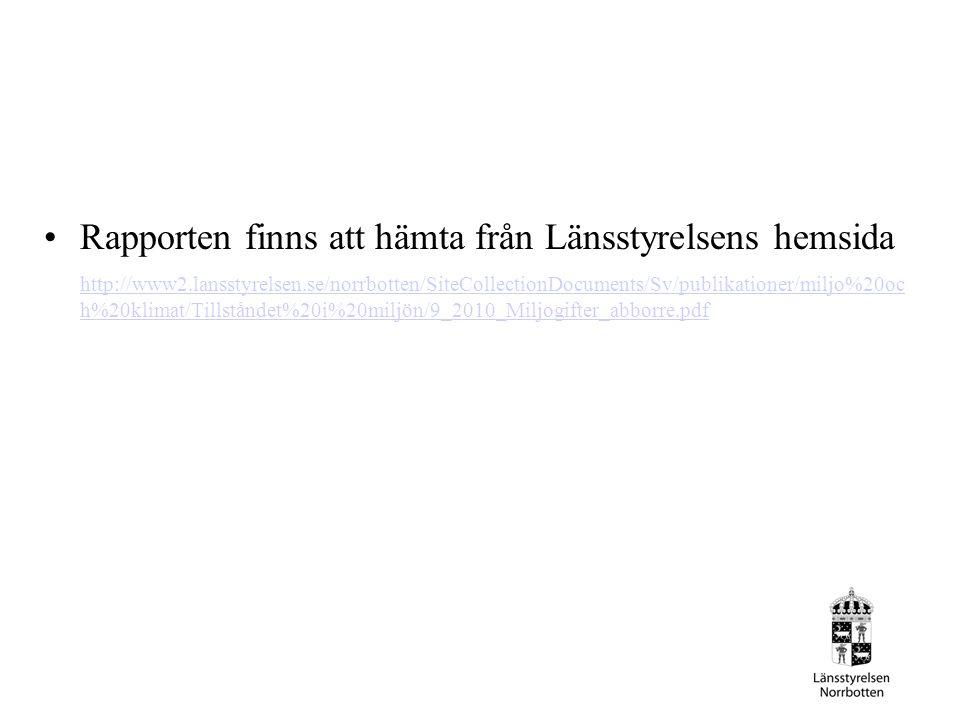 Rapporten finns att hämta från Länsstyrelsens hemsida http://www2.lansstyrelsen.se/norrbotten/SiteCollectionDocuments/Sv/publikationer/miljo%20oc h%20klimat/Tillståndet%20i%20miljön/9_2010_Miljogifter_abborre.pdf