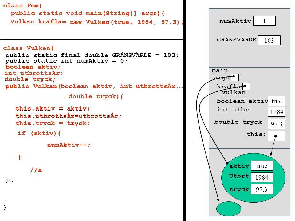 class Fem{ public static void main(String[] args){ Vulkan krafla = new Vulkan(true, 1984, 97.3); class Fem{ public static void main(String[] args){ cl