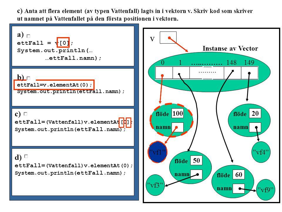 Uppgift 4 från Tenamen 2000-10-28 class Faarskallen{ public static void main(String[] args){ FaarHage hagen = new FaarHage(200); if (hagen.klipp(40)) System.out.println( Klipp fåren!!! ); } }//class Faarskallen class FaarHage{ public Faar[] bä; private int antal; public FaarHage(int n){ /*konstruktor som ger värden till instansvariablerna och som läser in information från en fil om fåren och fyller bä med får*/ } double medelUllLängd(){ /* Metod som beräknar medelullängden på alla fåren i hagen*/ } boolean klipp(int gräns){ /*metod som jämför medelullängden med gräns och returnerar true om fåren ska klippas.