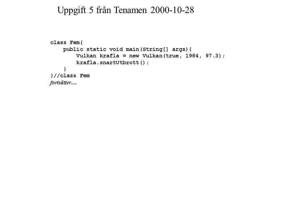 Uppgift 5 från Tenamen 2000-10-28 class Fem{ public static void main(String[] args){ Vulkan krafla = new Vulkan(true, 1984, 97.3); krafla.snartUtbrott