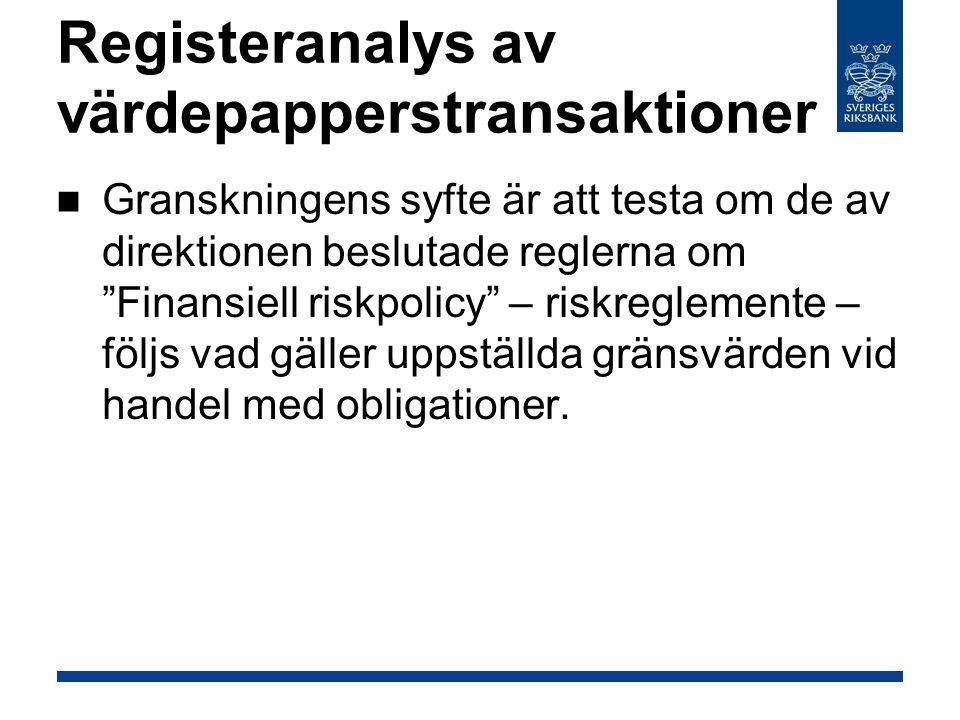Registeranalys av värdepapperstransaktioner Granskningens syfte är att testa om de av direktionen beslutade reglerna om Finansiell riskpolicy – riskreglemente – följs vad gäller uppställda gränsvärden vid handel med obligationer.