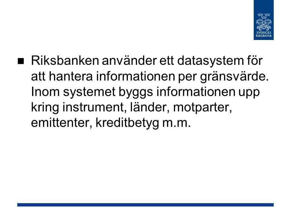 Riksbanken använder ett datasystem för att hantera informationen per gränsvärde.