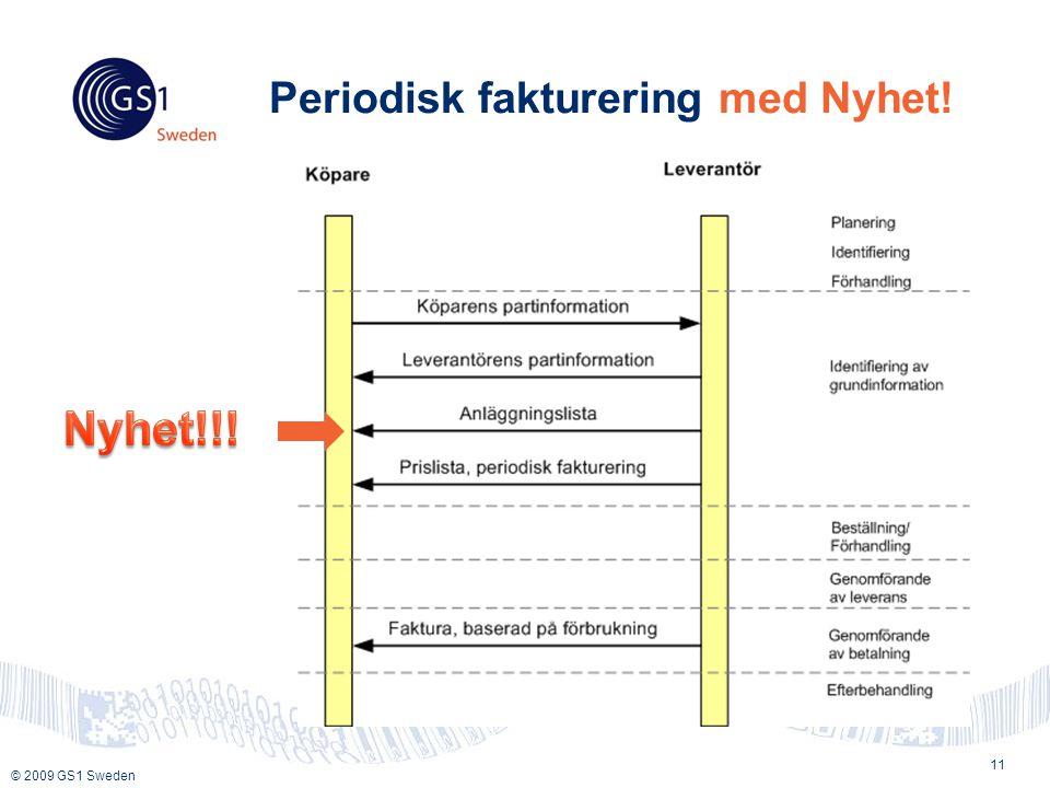 © 2009 GS1 Sweden Periodisk fakturering med Nyhet! 11