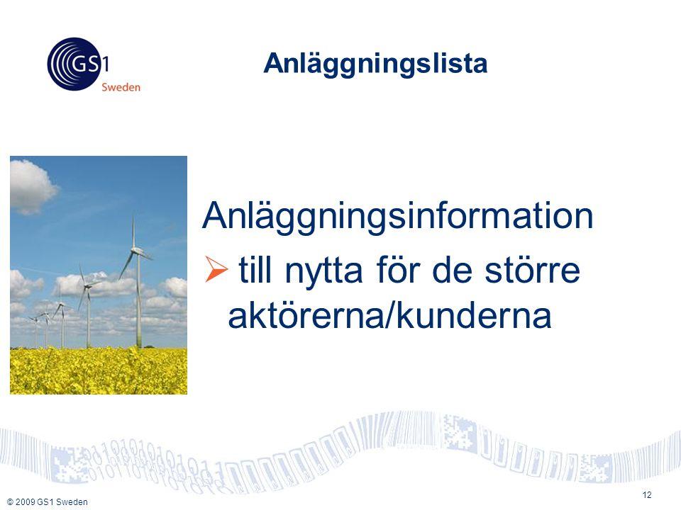 © 2009 GS1 Sweden Anläggningslista Anläggningsinformation  till nytta för de större aktörerna/kunderna 12