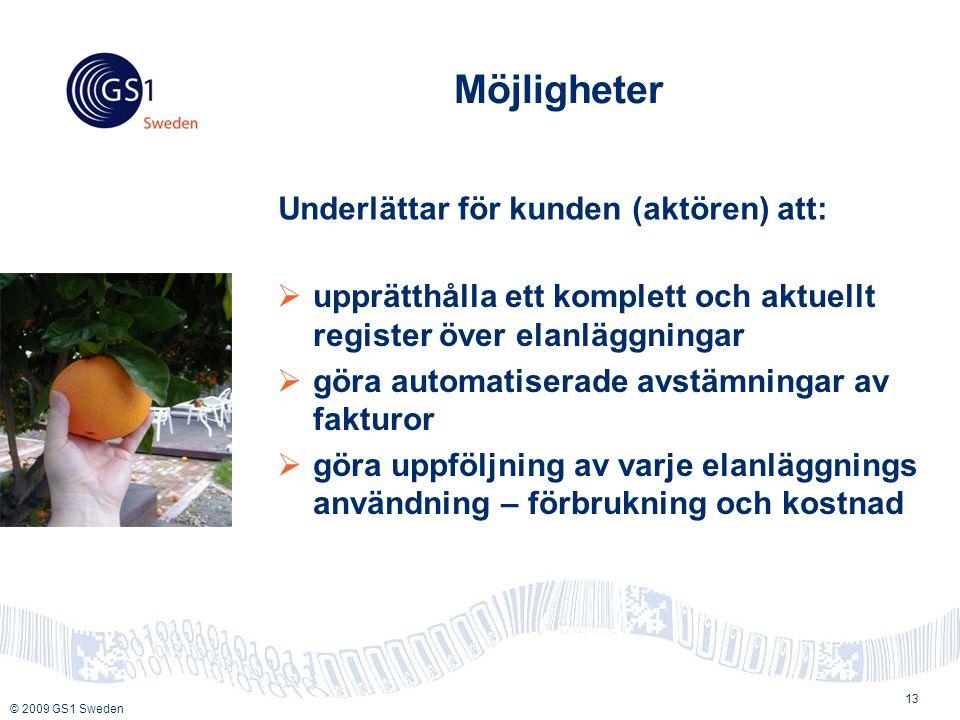© 2009 GS1 Sweden Möjligheter  upprätthålla ett komplett och aktuellt register över elanläggningar  göra automatiserade avstämningar av fakturor  göra uppföljning av varje elanläggnings användning – förbrukning och kostnad 13 Underlättar för kunden (aktören) att: