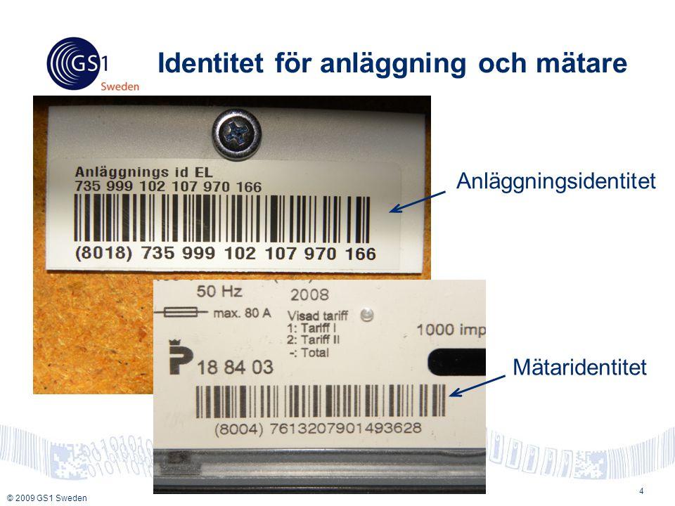 © 2009 GS1 Sweden Identitet för anläggning och mätare 4 Mätaridentitet Anläggningsidentitet