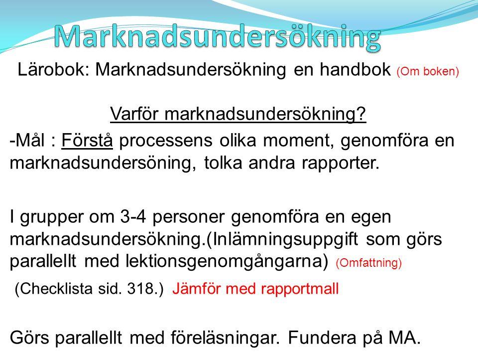 Lärobok: Marknadsundersökning en handbok (Om boken) Varför marknadsundersökning.