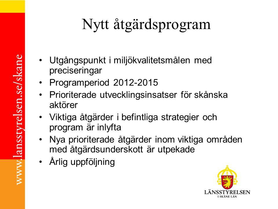 Nytt åtgärdsprogram Utgångspunkt i miljökvalitetsmålen med preciseringar Programperiod 2012-2015 Prioriterade utvecklingsinsatser för skånska aktörer