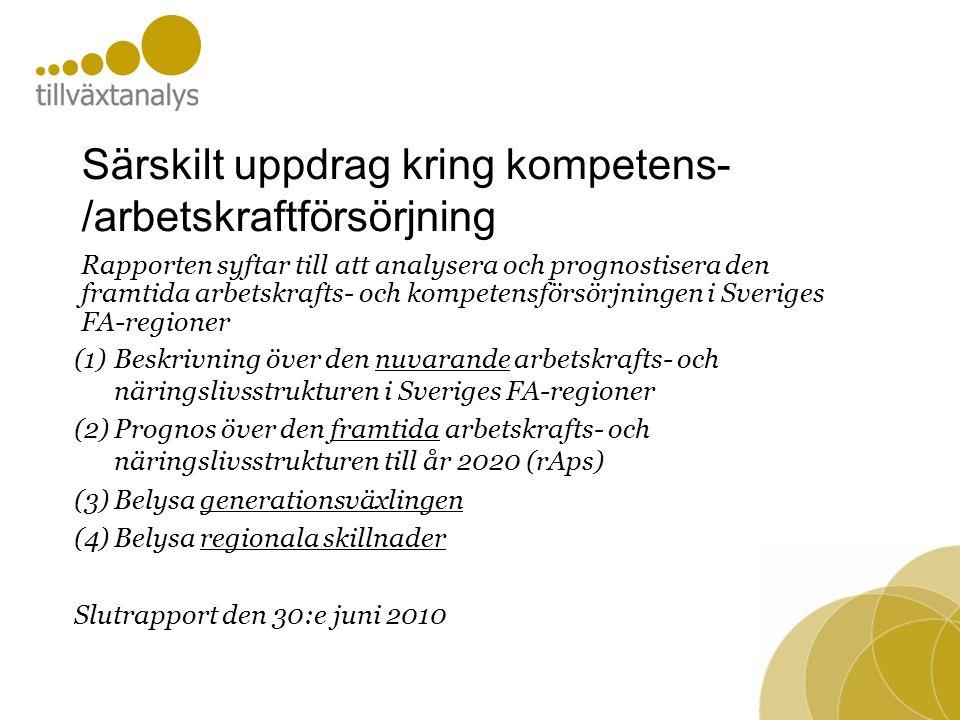 Särskilt uppdrag kring kompetens- /arbetskraftförsörjning (1)Beskrivning över den nuvarande arbetskrafts- och näringslivsstrukturen i Sveriges FA-regioner (2)Prognos över den framtida arbetskrafts- och näringslivsstrukturen till år 2020 (rAps) (3)Belysa generationsväxlingen (4)Belysa regionala skillnader Slutrapport den 30:e juni 2010 Rapporten syftar till att analysera och prognostisera den framtida arbetskrafts- och kompetensförsörjningen i Sveriges FA-regioner