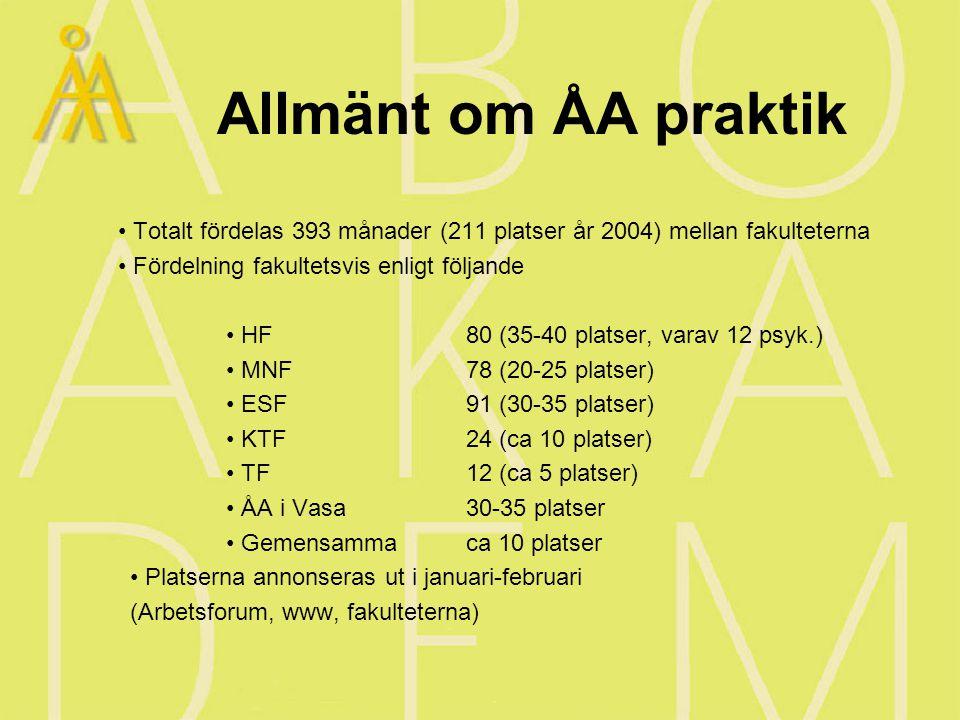 Allmänt om ÅA praktik Totalt fördelas 393 månader (211 platser år 2004) mellan fakulteterna Fördelning fakultetsvis enligt följande HF 80 (35-40 platser, varav 12 psyk.) MNF78 (20-25 platser) ESF91 (30-35 platser) KTF24 (ca 10 platser) TF12 (ca 5 platser) ÅA i Vasa30-35 platser Gemensammaca 10 platser Platserna annonseras ut i januari-februari (Arbetsforum, www, fakulteterna)