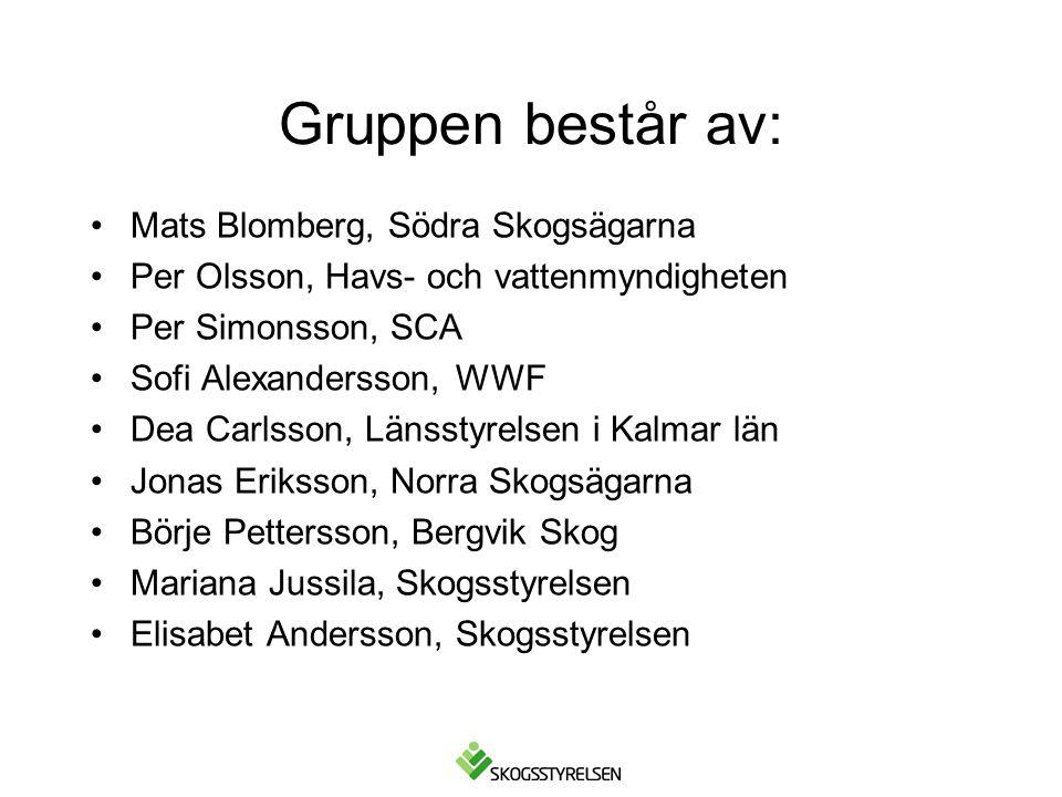Gruppen består av: Mats Blomberg, Södra Skogsägarna Per Olsson, Havs- och vattenmyndigheten Per Simonsson, SCA Sofi Alexandersson, WWF Dea Carlsson, L