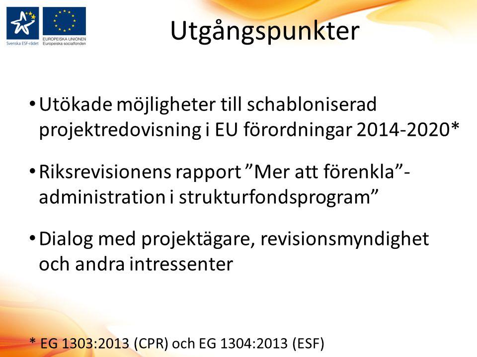 """Utgångspunkter Utökade möjligheter till schabloniserad projektredovisning i EU förordningar 2014-2020* Riksrevisionens rapport """"Mer att förenkla""""- adm"""
