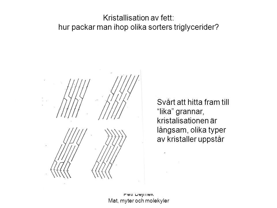 """Petr Dejmek Mat, myter och molekyler Kristallisation av fett: hur packar man ihop olika sorters triglycerider? Svårt att hitta fram till """"lika"""" granna"""
