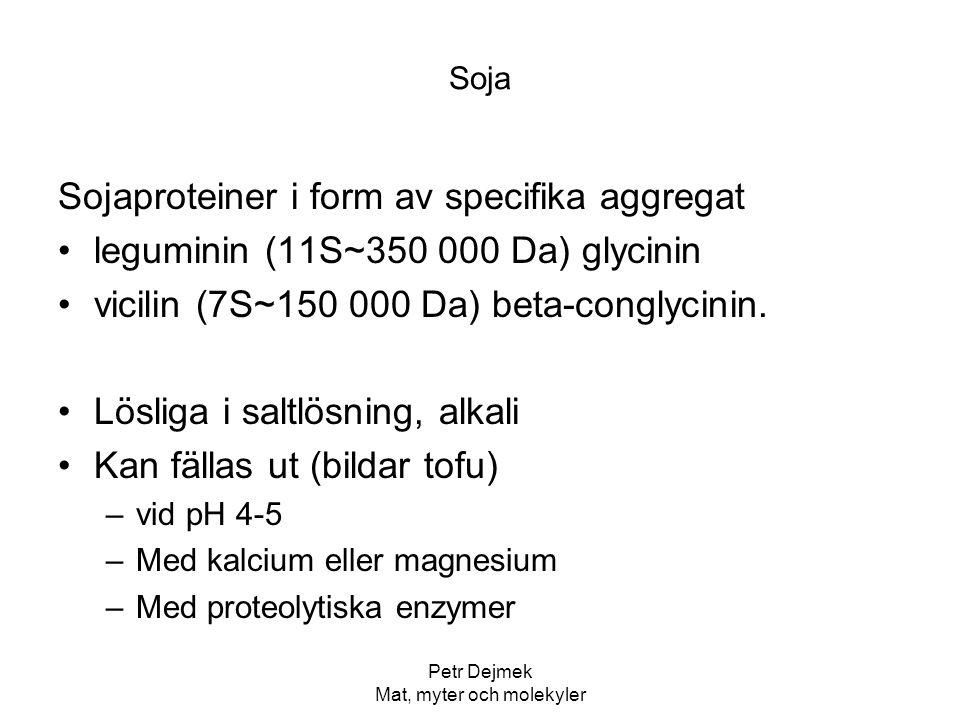 Petr Dejmek Mat, myter och molekyler Soja Sojaproteiner i form av specifika aggregat leguminin (11S~350 000 Da) glycinin vicilin (7S~150 000 Da) beta-
