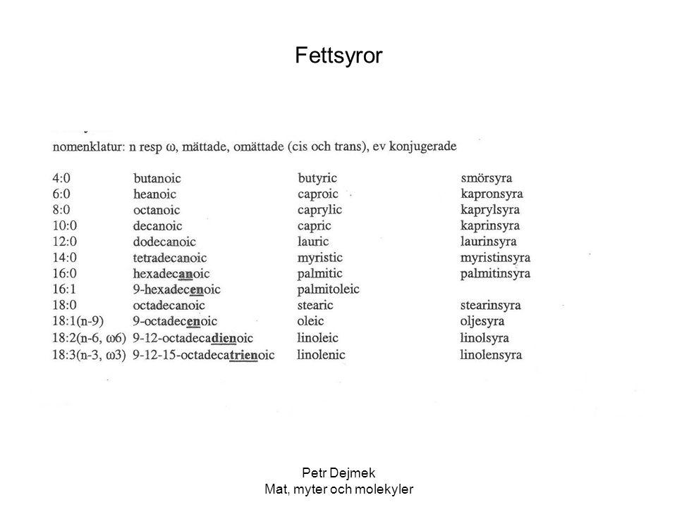 Petr Dejmek Mat, myter och molekyler Enzymer - försvarsenzymer i växter T ex i lök, vitlök, senap, bittermandel… Växterna har ett förråd av molekyler som består av (vanligtvis) en glukosgrupp och en starkt reaktiv grupp som tex blåsyra.