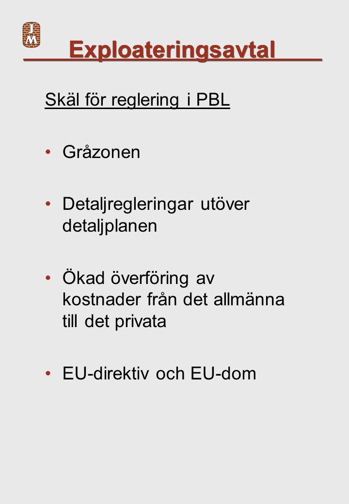 Exploateringsavtal Skäl för reglering i PBL Gråzonen Detaljregleringar utöver detaljplanen Ökad överföring av kostnader från det allmänna till det privata EU-direktiv och EU-dom