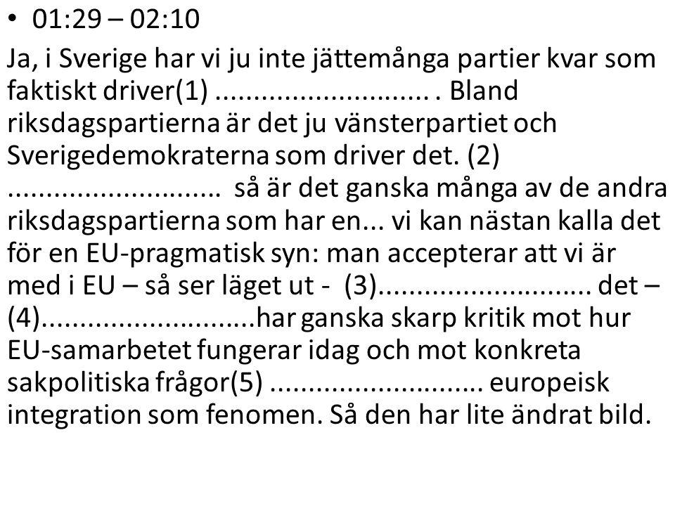 01:29 – 02:10 Ja, i Sverige har vi ju inte jättemånga partier kvar som faktiskt driver(1).............................