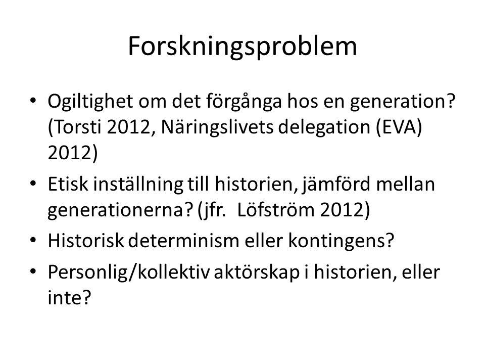 Forskningsproblem Ogiltighet om det förgånga hos en generation? (Torsti 2012, Näringslivets delegation (EVA) 2012) Etisk inställning till historien, j