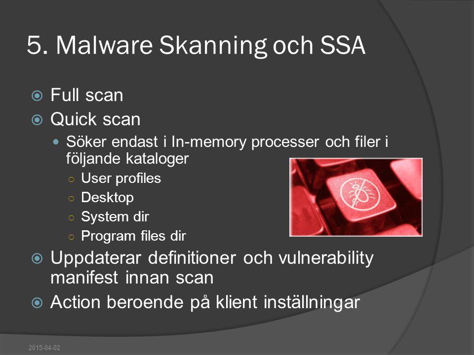 5. Malware Skanning och SSA  Full scan  Quick scan Söker endast i In-memory processer och filer i följande kataloger ○ User profiles ○ Desktop ○ Sys