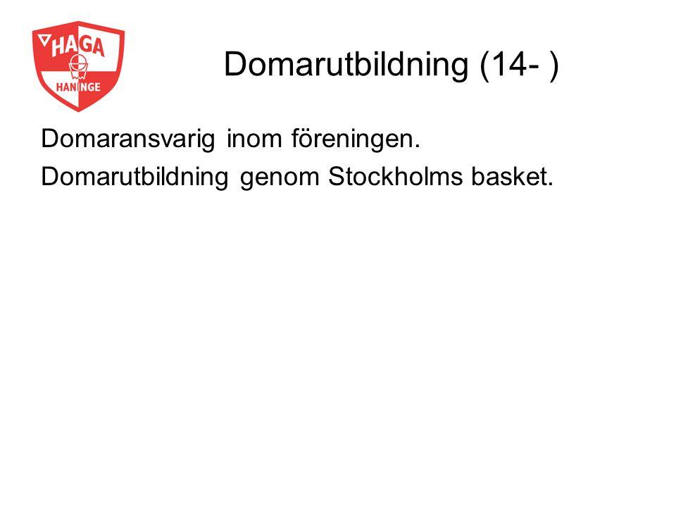 Domarutbildning (14- ) Domaransvarig inom föreningen. Domarutbildning genom Stockholms basket.