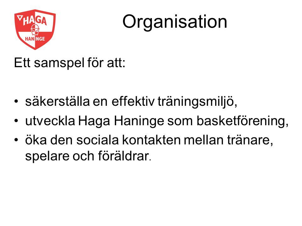 Organisation Ett samspel för att: säkerställa en effektiv träningsmiljö, utveckla Haga Haninge som basketförening, öka den sociala kontakten mellan tränare, spelare och föräldrar.