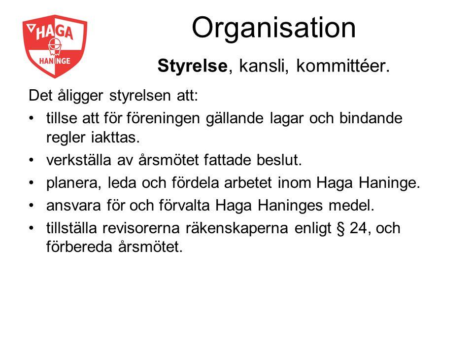Organisation Styrelse, kansli, kommittéer. Det åligger styrelsen att: tillse att för föreningen gällande lagar och bindande regler iakttas. verkställa