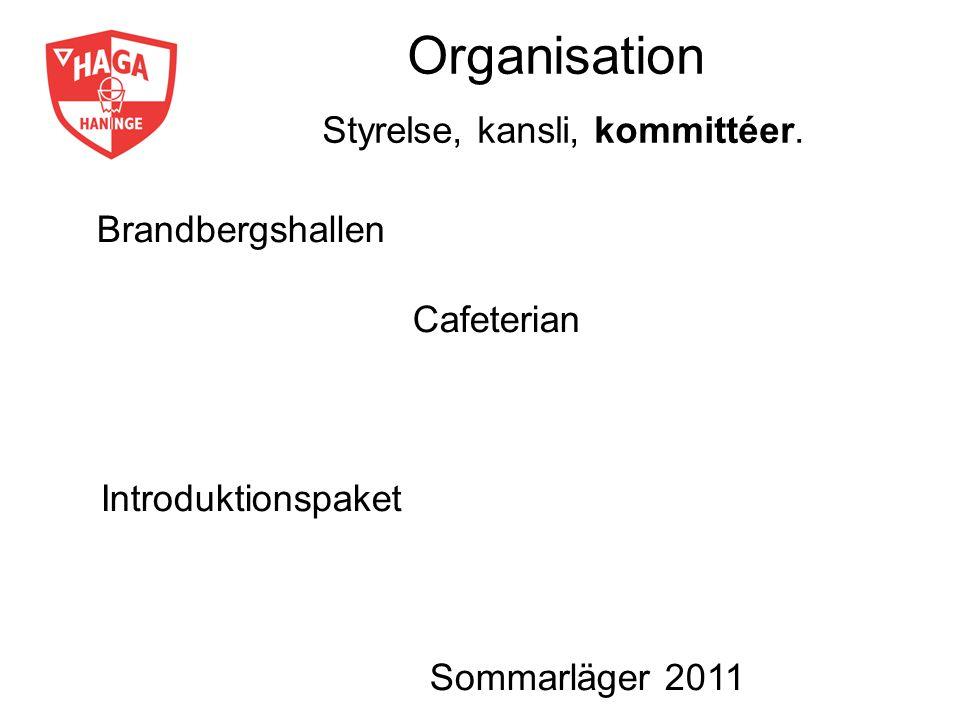 Organisation Styrelse, kansli, kommittéer. Brandbergshallen Cafeterian Introduktionspaket Sommarläger 2011