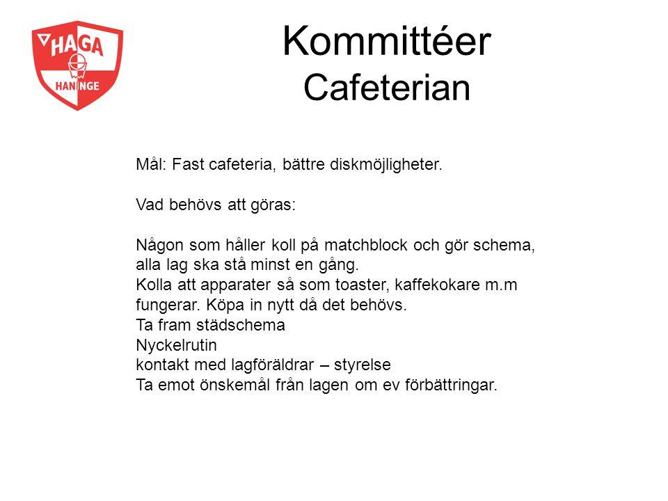Kommittéer Cafeterian Mål: Fast cafeteria, bättre diskmöjligheter.