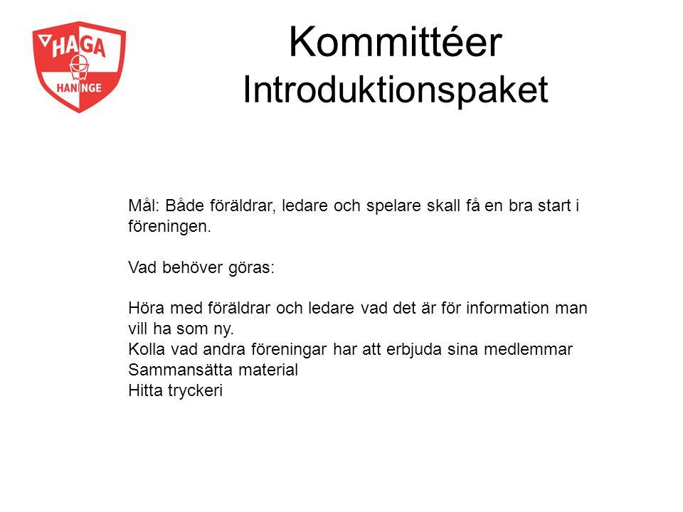 Kommittéer Introduktionspaket Mål: Både föräldrar, ledare och spelare skall få en bra start i föreningen. Vad behöver göras: Höra med föräldrar och le