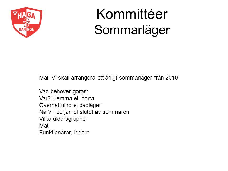 Kommittéer Sommarläger Mål: Vi skall arrangera ett årligt sommarläger från 2010 Vad behöver göras: Var? Hemma el. borta Övernattning el dagläger När?