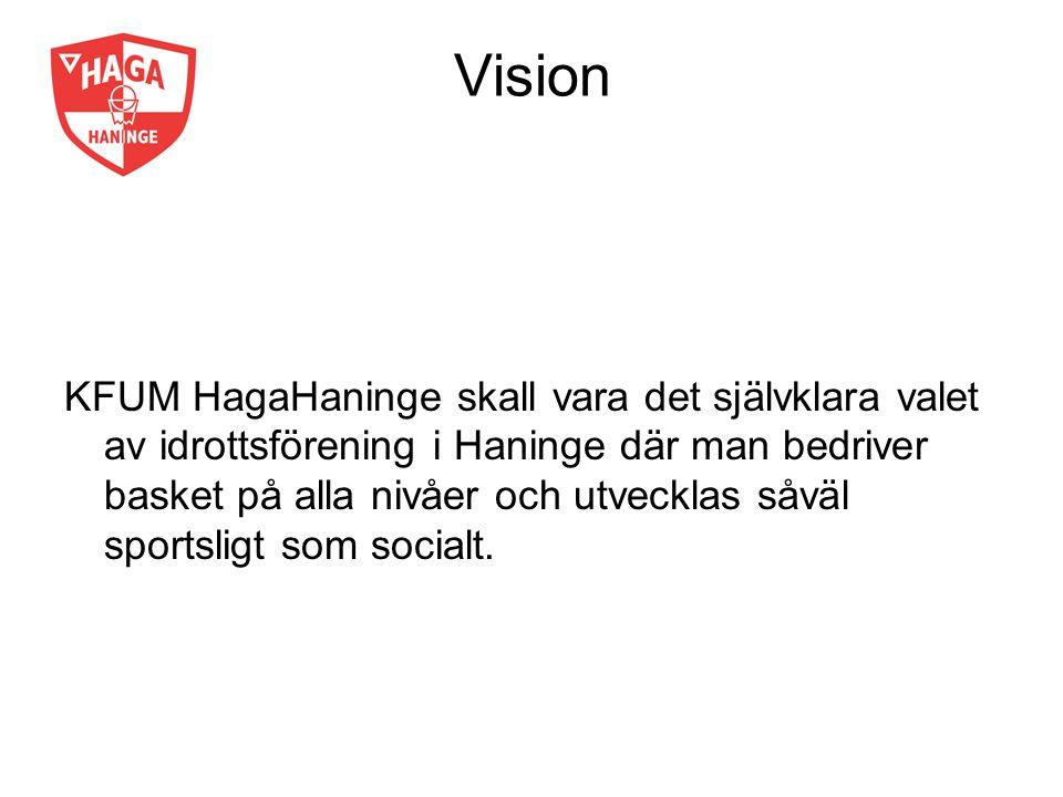 Vision KFUM HagaHaninge skall vara det självklara valet av idrottsförening i Haninge där man bedriver basket på alla nivåer och utvecklas såväl sports
