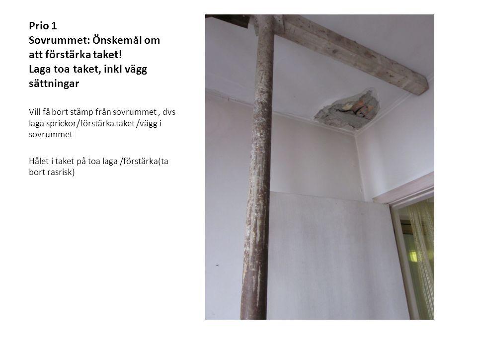Prio 1 Sovrummet: Önskemål om att förstärka taket! Laga toa taket, inkl vägg sättningar Vill få bort stämp från sovrummet, dvs laga sprickor/förstärka