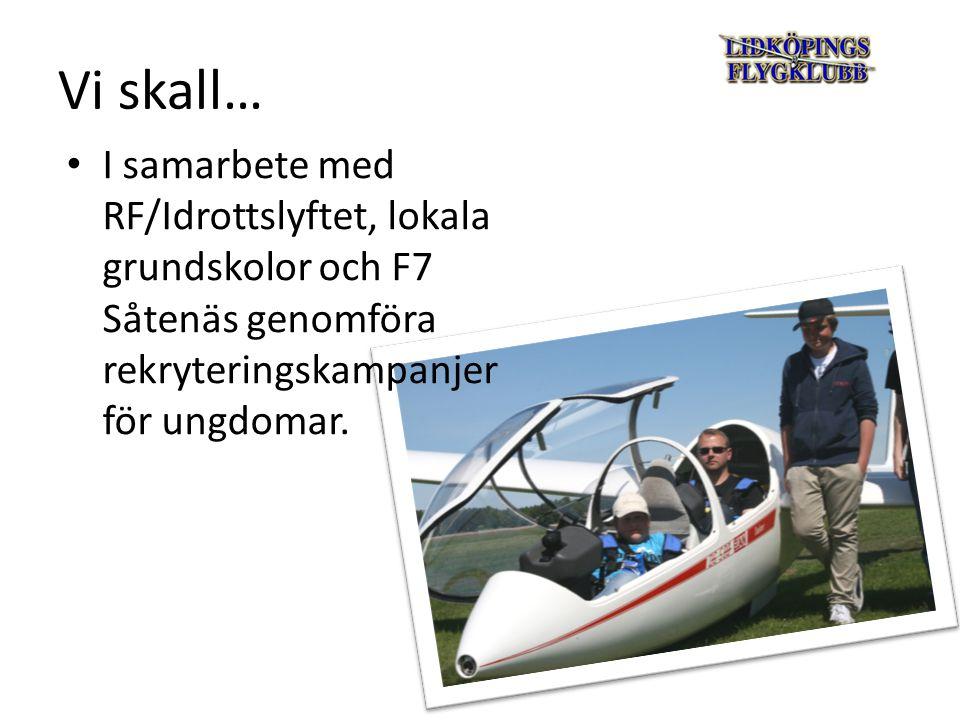 Vi skall… Genomföra Segelflygets Dag den 21 augusti Tillsammans med modell- och motorflygklubbarna genomföra Öppet hus den 6 juni.