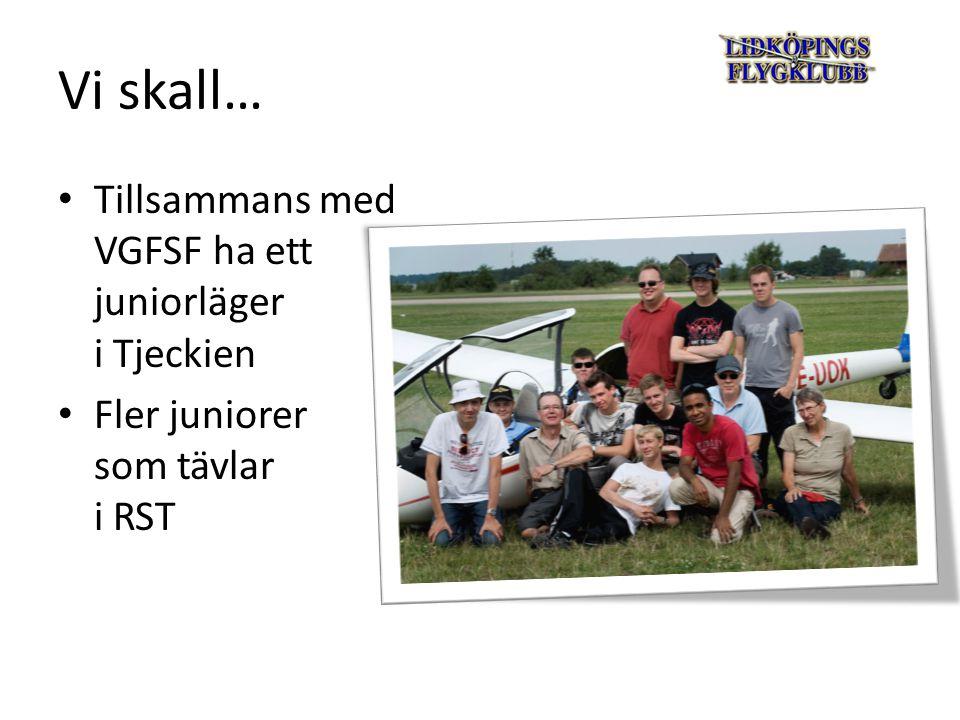 Vi skall… Tillsammans med VGFSF ha ett juniorläger i Tjeckien Fler juniorer som tävlar i RST
