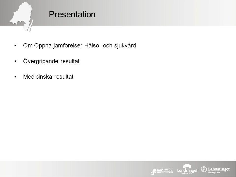 Presentation Om Öppna jämförelser Hälso- och sjukvård Övergripande resultat Medicinska resultat