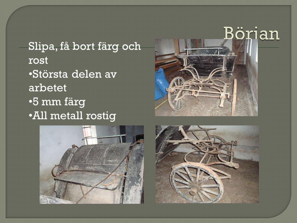Dags för grundbehandling av vagnen - Rötbehandla träet - Olja