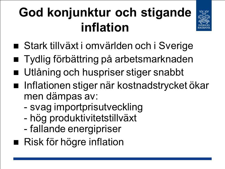 God konjunktur och stigande inflation Stark tillväxt i omvärlden och i Sverige Tydlig förbättring på arbetsmarknaden Utlåning och huspriser stiger snabbt Inflationen stiger när kostnadstrycket ökar men dämpas av: - svag importprisutveckling - hög produktivitetstillväxt - fallande energipriser Risk för högre inflation